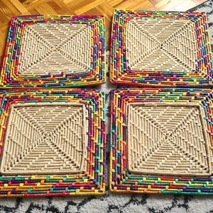 4 vintage wicker trivets/placemats